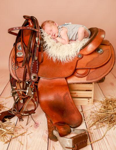 Das Baby liegt im Studio auf einem Pferdesattel.