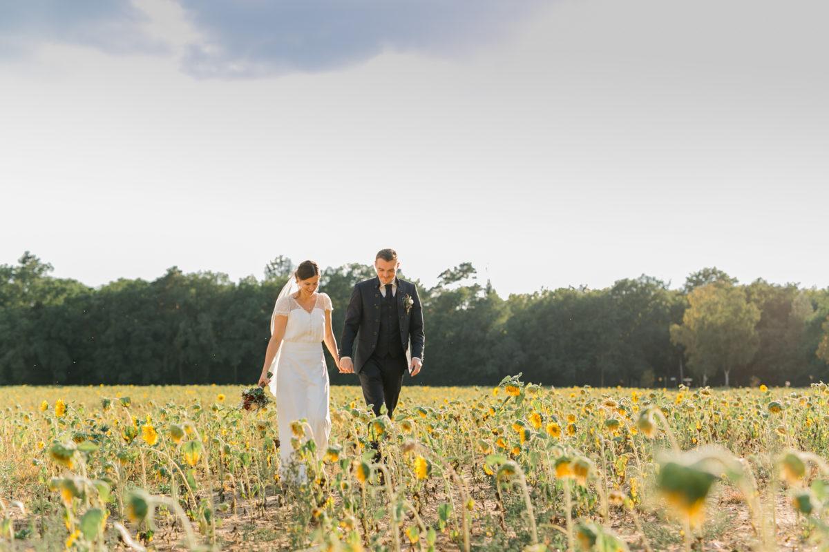 Hochzeitsbilder in einem Sonnenblumenfeld in Brandenburg.